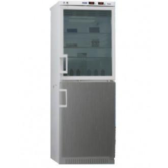 Холодильник фармацевтический двухкамерный ХФД-280(ТС) (140/140 л) с дверью из металлопласта и с тонированной стеклянной дверью серебряного цвета в Екатеринбурге